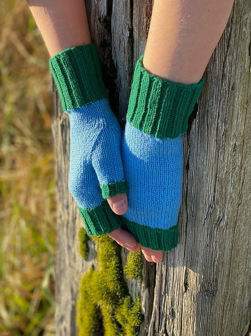 Fingerless Mittens - Light Blue & Green