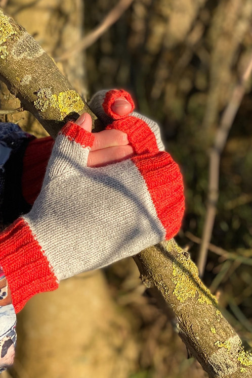Fingerless Mittens - Pearl Grey & Red