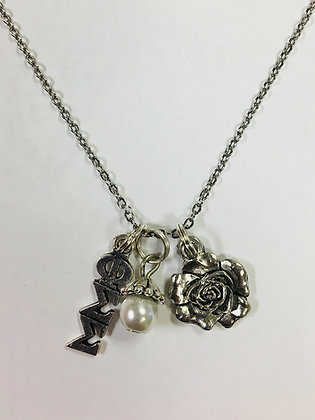 Phi Sigma Sigma PSS Trio Charm Necklace Sorority Greek Necklace, 18 inch chain