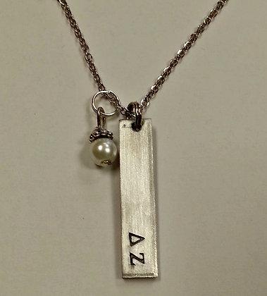 Delta Zeta Bar Pendant with white glass pearl dangle, DZ Sorority Greek Necklace