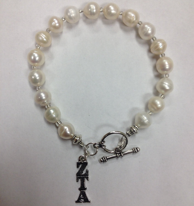 Zeta Tau Alpha Sorority Greek Freshwater Pearl Bracelet w/Toggle Clasp
