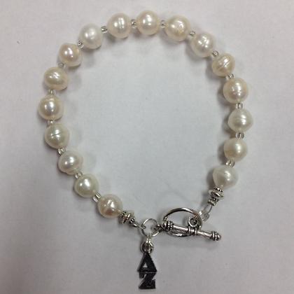 Delta Zeta Sorority Greek Freshwater Pearl Bracelet w/Toggle Clasp