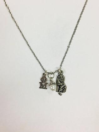 Phi Mu OM Trio Charm Necklace Sorority Greek Necklace, 18 inch chain