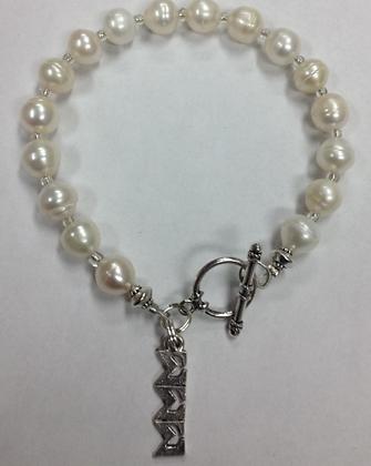 Sigma Sigma Sigma Sorority Greek Lavaliere Freshwater Pearl Bracelet