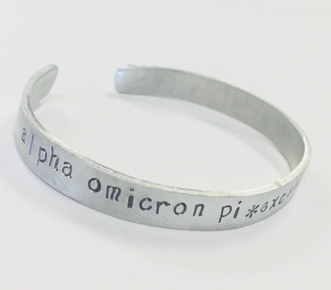 Alpha Omicron Pi Greek Sorority Quote Bracelet, Motto Exceed the Expectation