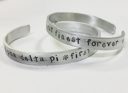 Alpha Delta Pi - First Finest Forever, Greek Sorority Handstamped Cuff Bracelet