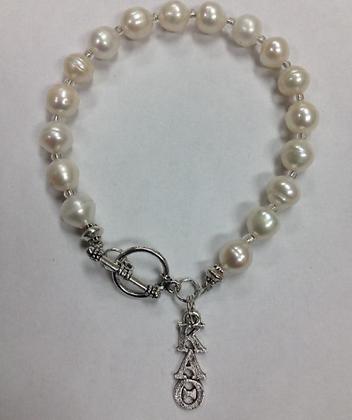 Kappa Alpha Theta Sorority Greek Lavaliere Freshwater Pearl Bracelet