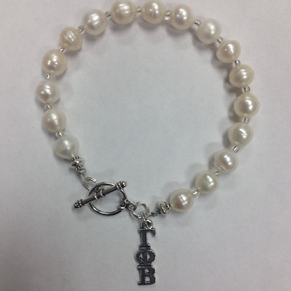 Gamma Phi Beta Sorority Greek Lavaliere Freshwater Pearl Bracelet w/Toggle Clasp