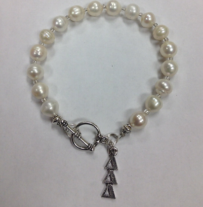 Delta Delta Delta Sorority Greek Freshwater Pearl Bracelet w/Toggle Clasp