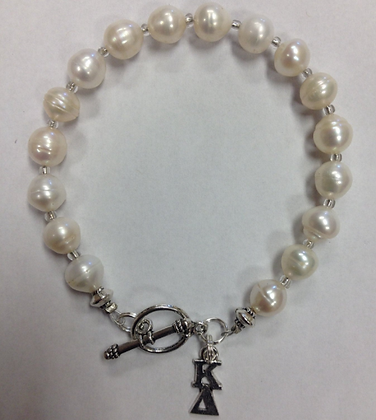 Kappa Delta Sorority Greek Freshwater Pearl Bracelet w/Toggle Clasp