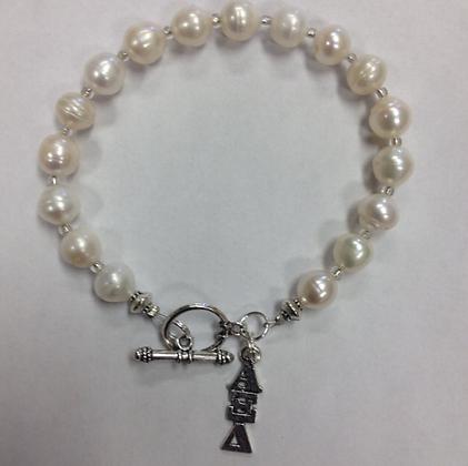 Alpha Xi Delta Sorority Greek Lavaliere Freshwater Pearl Bracelet w/Toggle Clasp