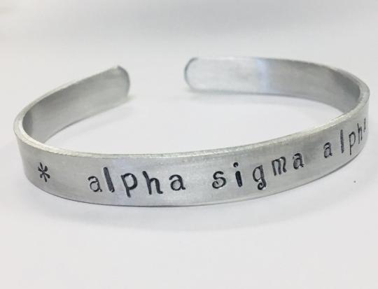 Alpha Sigma Alpha AEA Greek Sorority Quote Bracelet -cuff bracelet