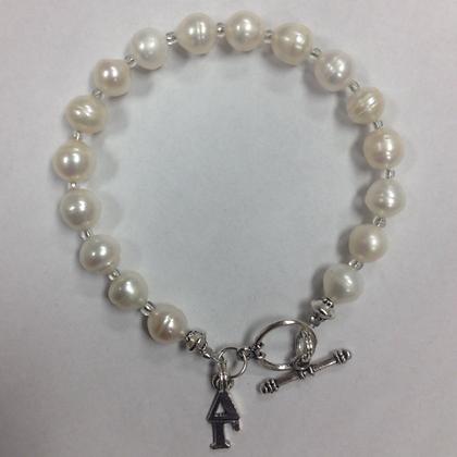 Delta Gamma Sorority Greek Lavaliere Freshwater Pearl Bracelet w/Toggle Clasp