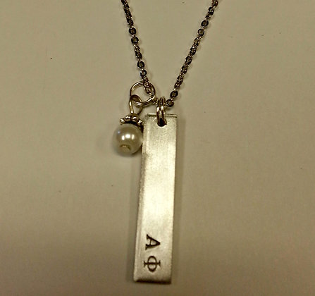 Alpha Phi Bar Pendant with white glass pearl dangle, AP Sorority Greek Necklaces