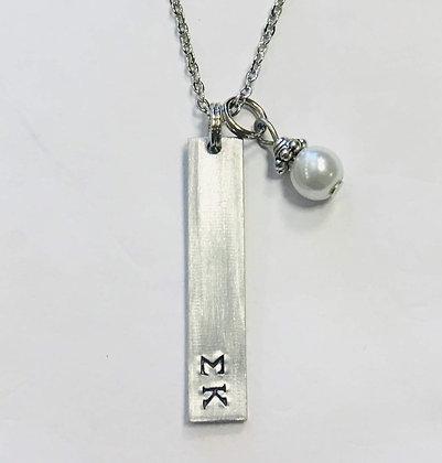 Sigma Kappa Bar Pendant with glass pearl dangle, Sigma Kappa gift, Sorority Gree