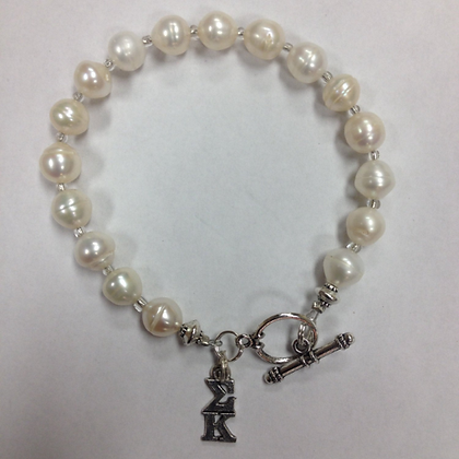 Sigma Kappa Freshwater Pearl Bracelet w/Toggle Clasp - officially licensed