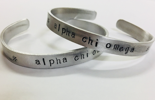 Alpha Chi Omega AXO Greek Sorority Bracelet - handstamped cuff bracelet
