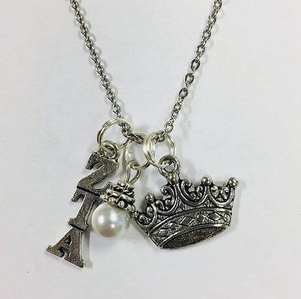 Zeta Tau Alpha ZTA Trio Charm Necklace Sorority Greek Necklace, 18 inch chain