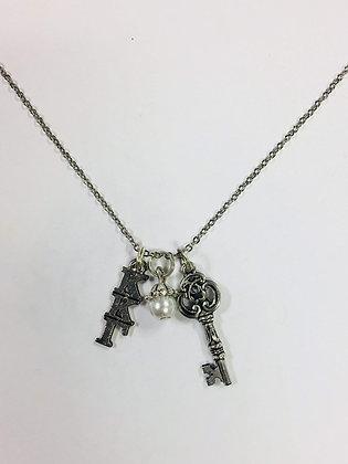 Kappa Kappa Gamma KKG Trio Charm Necklace Sorority Greek Necklace, 18 inch chain