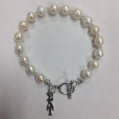 Sorority Sigma Delta Tau Greek Freshwater Pearl Bracelet w/Toggle Clasp