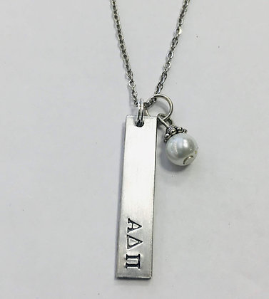 """Alpha Delta Pi - Bar pendant with pearl w/ 18"""" stainless chain"""