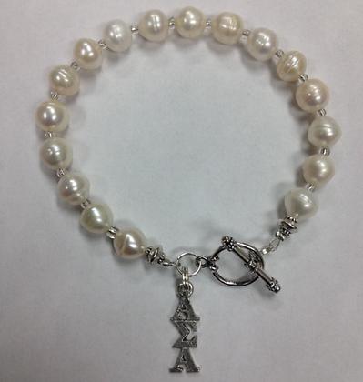 Alpha Sigma Alpha Sorority Greek Freshwater Pearl Bracelet w/Toggle Clasp