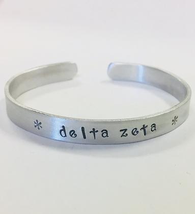 Delta Zeta Jewelry, DZ Greek Sorority Handstamped Cuff Bracelet in non-tarnish