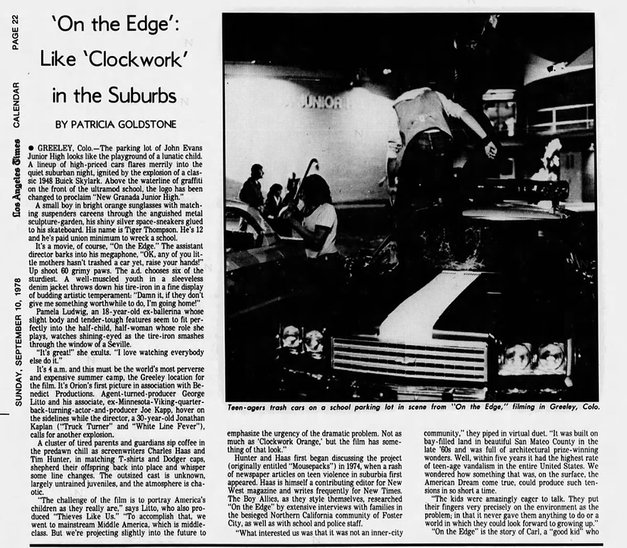 Over The Edge movie LA TIMES profile 197