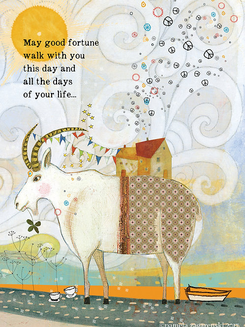 473 Fortune Goat Sacredbee Greeting Card