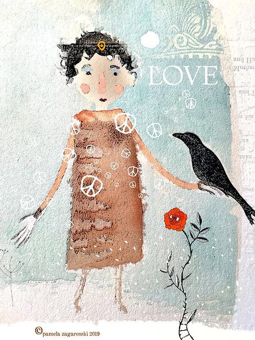 517 Bird In Hand Sacredbee Greeting Card