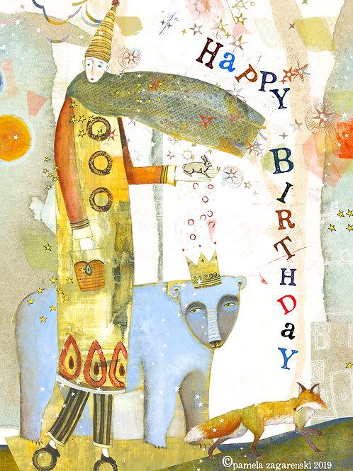 485 Blue Bear Birthday Sacredbee Greeting Card