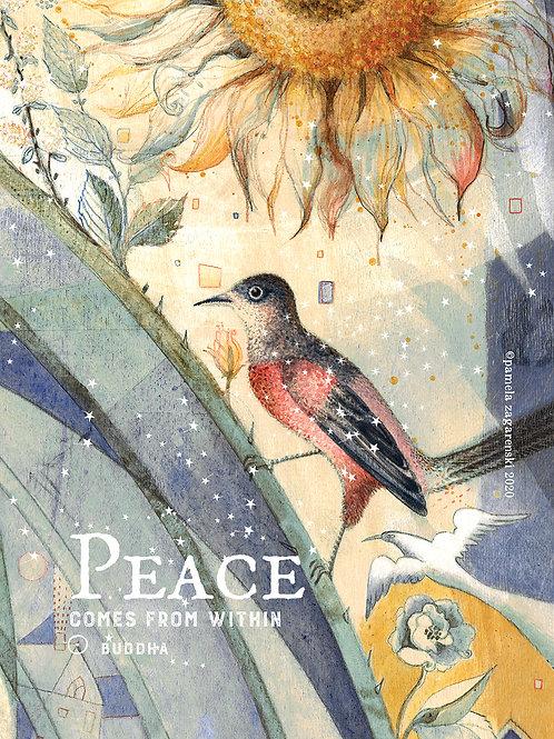 358 Red Bird's Peace Sacredbee Greeting Card