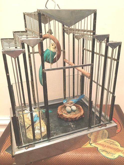 "*SOLD * Decorative ""Machine Age""  Art Deco Birdcage"