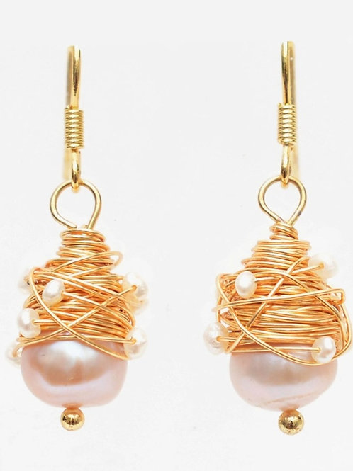 Pink Pearl and Gold Earrings