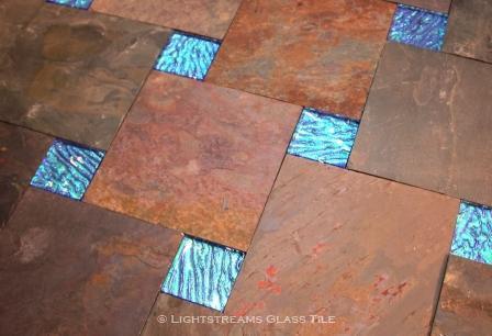"American Made Lightstreams Glass Tile Mystic Spring 2""x2"" Jewel glass accent tile make lovely accents to natural slate tile flooring: also used as blue tile green tile accent tile as shower tile, pool tile, spa tile, kitchen tile, backsplash tile, bathroom tile, fountain tile, wall tile, waterline tile, and step marker tile"