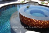 American made Lightstreams Glass Tile Renaissance Collection Root Beer pool tile, spa tile, and waterline tile with 24k gold as accent tile