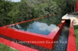 American made Lightstreams Glass Tile all glass tile pool in Renaissance Collection Chinese Red glass pool tile