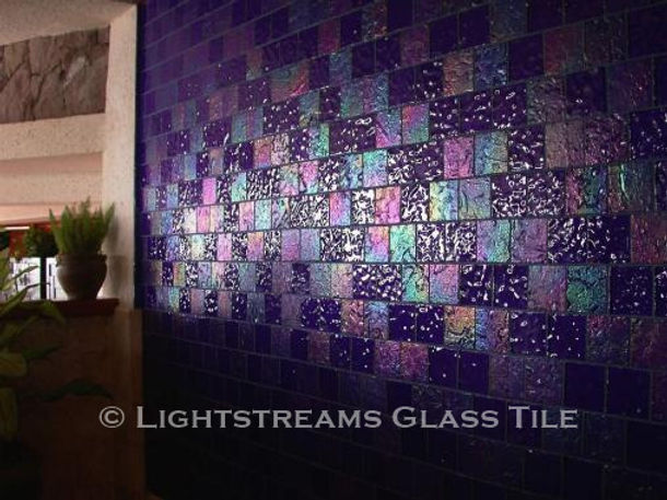 American Made Lightstreams Glass Tile Renaissance Collection Royal Blue glass tile is used as interior wall tile