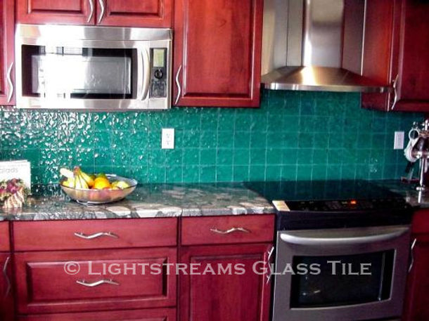 American Made Lightstreams Glass Tile Renaissance Collection Teal blue tile / green tile is used as kitchen tile and backsplash tile only showing the smooth shiny side of Lightstreams signature iridescent tile / shiny tile reversible tile.