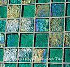 High quality American Made Lightstreams Glass Tile Renaissance Collection II Celadon 2.0 Green glass tiles are a soft earth-tone sage green.  There are subtle rainbow iridescent colors on the reverse textured side of the tile. This green tile can also be used for pool tile, spa tile, fountain tile, fire pit tile, wall tile, waterline tile, step marker tile, exterior tile, interior tile, accent tile, iridescent tile, backsplash tile, kitchen tile, bathroom tile, floor tile, and shower tile