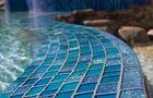 American made Lightstreams Glass Tile custom glass pool tile, spa tile, and waterline tile with jewel accent tile