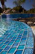 American made Lightstreams Glass Tile custom glass pool tile, spa tile, and waterline tile with jewel accent tile