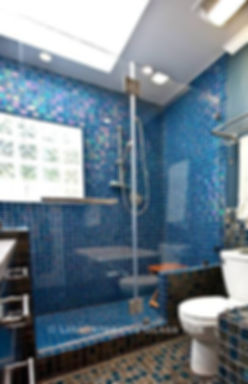 American Made Lightstreams Glass Tile Renaissance Collection Peacock blue tile is used as shower tile and bathroom tile for this all tile shower and is safe as floor tile and wall tile.