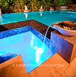 American made Lightstreams Glass Tile Renaissance Collection Dark Silver tile for spa tile, pool tile, and waterline tile with accent tile in our jewel accent tile and shell beach as step markers