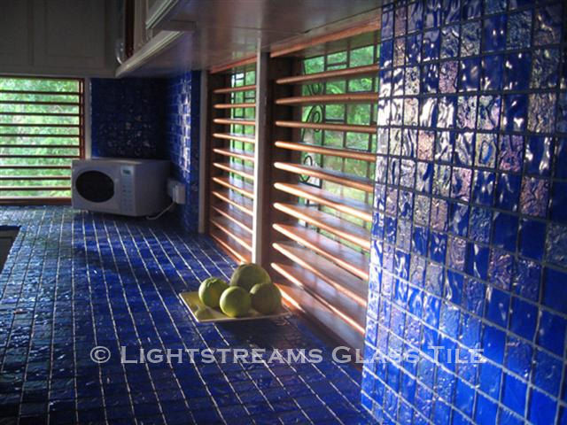 American Made Lightstreams Glass Tile Intense Blue tile is used as counter top tile, kitchen tile, wall tile, and backsplash tile.