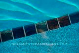 American made Lightstreams Glass Tile Gold Iridescent Collection Steel blue, bronze, and silverado grey tile for pool tile, waterline tile and step marker tile