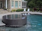American made Lightstreams Glass Tile pool tile, spa tile, and waterline tile in Gold Iridescent Collection Silverado grey