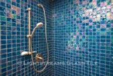 American Made Lightstreams Glass Tile  Renaissance Collection Peacock Blue Iridescent Glass Shower Tile  Gold Iridescent Collection Steel Blue & Silverado Glass Bathroom Tile, Shower Tile, Bath tub tile and floor tile