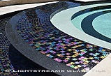 American made Lightstreams Glass Tile Renaissance Collection Absolute Black tile as iridescent tile pool tile, spa tile, and waterline tile