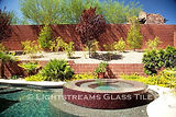 American made Lightstreams Glass Tile Renaissance Collection Plum purple tile as pool tile, waterline tile, and all glass tile spa tile
